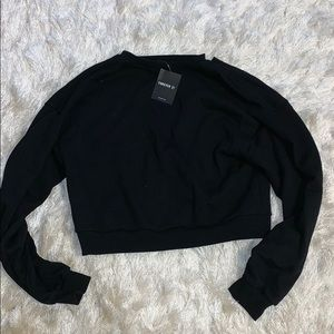 Forever 21 Tops - NY Cut-Out Cropped Sweatshirt